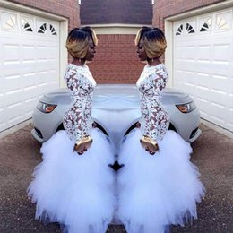 $enCountryForm.capitalKeyWord NZ - Beyonce 2018 African White Mermaid Lace Prom Dresses for Black Girls Long Sleeves Ruffles Tulle Floor Length Plus Size Evening Prom Gowns