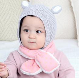 winter hat cotton NZ - Baby Beanies Children Knitted Cute Ears Cotton Hats Boys Girls Autumn Winter Props Kids Earmuffs Headwear Crochet Warm Caps Gray Pink M159