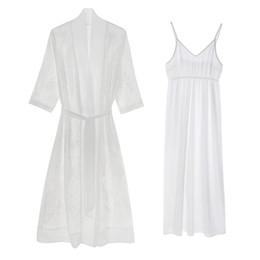 b27646bdca Summer Silk Sleeping Robe Female Spring Autumn Long Style Sexy Ice Silk  Bathrobes + Nightdress Two-Piece Woman Sleepwear YY8021