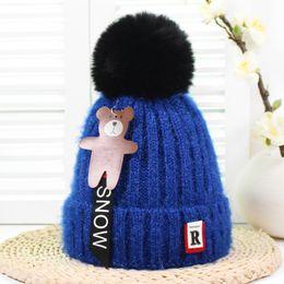 bc74142b6d9 Hat knitting bear online shopping - baby caps winter kids add wool stretch cartoon  bear pendant