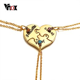 $enCountryForm.capitalKeyWord Australia - wholesale 3pcs Set Gold Color Heart Puzzle Best Friend Choker Necklace for Women Stainless Steel CZ Stones Female Lady Trendy Jewelry