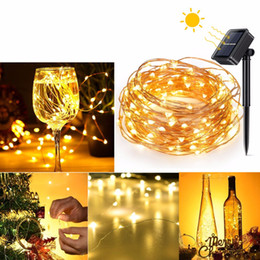Solar Heart Lights Australia - Solar LED Strings Powered Copper Wire Outdoor LED String Lights 12M Waterproof Fairy Light for Christmas Garden Holiday Decoration