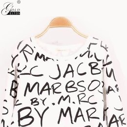 Goldhände Sommer Herbst Mode Dame Brief Long Sleeves Sweatershirt Frauen Oansatz Solid Pullover Sweatershirt Kostenloser Versand im Angebot