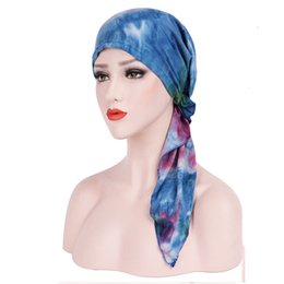 Tie Dye Hair UK - 1PC New fashion Satin Women India Muslim Stretch Turban Hat Tie-dye Stretched Cap Cotton Hair Loss Unisex Head Scarf Wrap