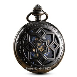 Discount pocket watches for - Geometrical Mechanical Pocket Watches Clip Chains Skeleton Hand-winding Fob Watches Steampunk for Mens Gifts Relogio De