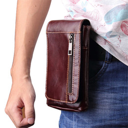 """$enCountryForm.capitalKeyWord Canada - 2018 New 6.3""""Casual Fashion Men's Genuine Leather Waist Packs Fanny Pack Belt Bags Mobile Phone Pouch Bags Travel Male Bag"""