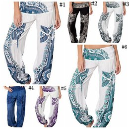 96548b625cd Bohemia Women Long Pants Floral Print Trousers Wide Leg High Waist Palazzo  Trousers Boho Yoga Sweatpants 6 Colors 5pcs LJJO4302