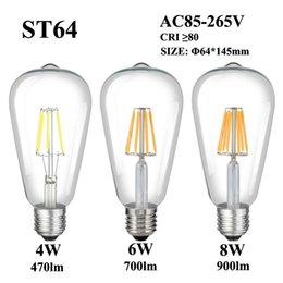 filament pendants NZ - E27 E26 LED Filament Bulb 4W 6W 8W 110V 220V 240V ST64 Clear Glass Vintage Edison Lamp Bulb For Retro Pendant Chandelier Fixture