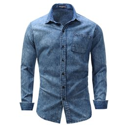 dc051b8719 New VogueFashion Men Denim Shirts Long Sleeve Pocket 111% Cotton Casual  Plus Size Male Social Jeans Shirts Streetwear XXXL