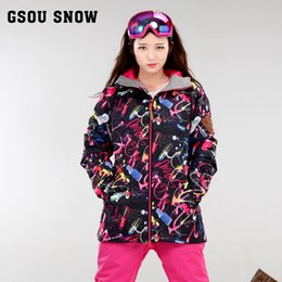 Discount snowboard ski jackets - GSOU SNOW ski jacket women snowboard jacket women veste ski femme thick warm wear -30 degree russia winter
