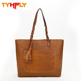 Cheap Handbag Bags Tote Canada - Fashion women totes shoulder bag Pu leather ladies tassel handbags High Quality designer Cheap big tote bag female 2018 P20