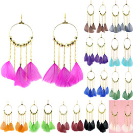 Chandelier Beads Chains Australia - Feather Earrings 12 Colors wholesale lots Golden Circle Bead Chain Chandelier Eardrop Hot (Burgundy Black Green Deep Pink Blue White)(JF261)