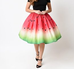 $enCountryForm.capitalKeyWord Canada - 2018 summer 3D Watermelon section printed women Skirt red green Tutu skirt female hip hop High waist umbrella Skirt for woman