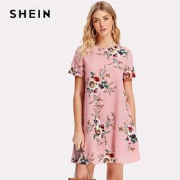 c58e568a0e Out gOing dress online shopping - SHEIN Flower Print Swing Dress Women Pink  Round Neck Short