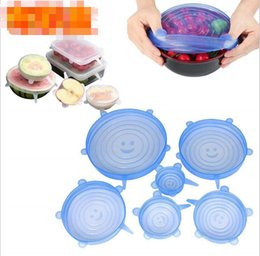 kitchen wrap Australia - 1 Set Silicone Stretch Suction Pot Lids 6Pcs Set Food Grade Fresh Keeping Wrap Seal Lid Pan Cover Kitchen Tools Accessories