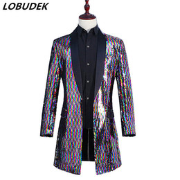 China Men Rainbow Color Long Coat Colorful Flipping Sequins Windbreaker Outerwear Tide Male Singer Punk Dancer DJ Concert Host Performance Costume supplier performance painting suppliers