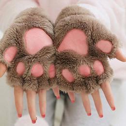 Keyboard gloves online shopping - Women Winter Wrist Arm Warmer Knitted Keyboard Long Fingerless Gloves Mitten Half finger cat claw plush gloves