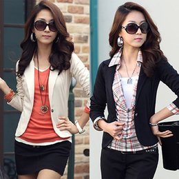 Blazers Short Coat Canada - 2016 Women Korean Style Casual Slim Short Blazer Suit Jacket Coat Outwear Blouse Top