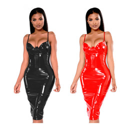 China Sexy Sleeveless Wet Look Women Leather long Dress Nightwear Fetish Stripper Pole Dance shoulder hanging Dress Glossy Catsuit cheap white poles suppliers