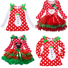 Wholesale Christmas Tutus Australia - Baby Christmas Dress for Girl Tutu Dresses Xmas Party Tulle Kids Costume Ball Gown 6 Styles