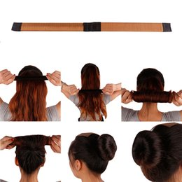 Girls french online shopping - French Hair Ties Girl Hair Diy Styling Donut Former Foam Twist Magic Tools Bun Maker Black Brown Coffee