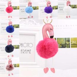 Discount cute colorful bags - 2018 Cute Pink colorful Fluffy Pompom Flamingo Keychain Women Faux Rabbit Fur Ball Pompon Key Chain Car Bag Pom Pom Key
