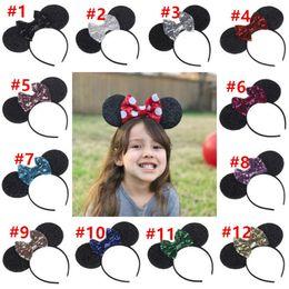 Babies Hair Wearing Headbands Australia - Baby Girls Bow Hair Sticks Big Sequin Bow Hairbands Cute Animal Mouse ears Headbands Children Hair Accessories Kids Party Wear 12 color