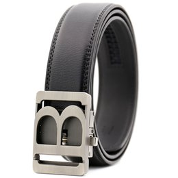 Black leather girdles online shopping - 2018 Hot New Brand Designer Belts Men High Quality Automatic Belt Men Leather Girdle Casual Waist Strap with Letter B V Buckle