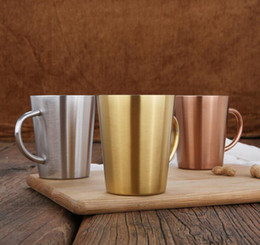 Beverage cups online shopping - 320ml oz Vacuum Cups Stainless Steel Double Wall Wine Tumbler Vacuum Insulated Beverage Milk Thermo Coffee Cups Beer Mug with handles