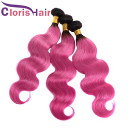 Discount pink human hair bundles Body Wave Ombre Hair Weaves 1B Pink Raw Indian Virgin Human Hair Bundles Cheap Two Tone Rose Pink Wavy Ombre Hair Extens