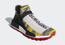 half off cc2b3 853dc 2018 Pharrell Williams x Originals NMD Hu Trial Solar Pack 3MPOW3R Human  Race Men Women Running Shoes Authentic Sneakers With Box BB9527