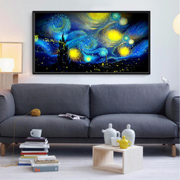 Discount van shoes Fully-jewelled Van Gogh Starry Sky Diamonds Picture Northern Europe Concise Drilled Drawing Oil Painting A Living Room Study Paintings