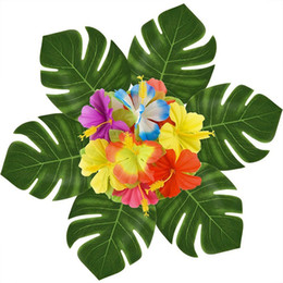 Wholesale Hawaii Artificial Leaf Of Tortoiser Flower Beach Theme Decorate Simulation Leavies Party Supplies Portable Home Fashion Decor hb jj