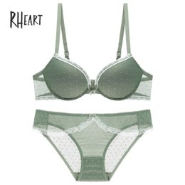 6009506e5d Roseheart Women Fashion Green Sexy Lingerie Push Up Bras Lace Bow Trim  Cotton Panties Underwire Padded Bra Sets Plus Size B C