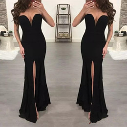 holiday evening gowns floor length Canada - Cheap Mermaid Evening Dress Arabic Style Party Gown Sweetheart Split Holiday Wear Pageant Prom Dress 2019 Custom Made Plus Size Floor Length