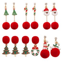 Wholesale Trendy Red Plush Ball Women Drop Earrings Christmas Tree Wreath Crutch Snowman Long Tassel Earrings Xmas Earings Jewelry Gifts