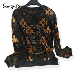 Full Diamonds NZ - 2018 New Arrivals Winter Samgpilee Casual Knitted Full sleeve Diamonds fashion Geometric O-neck women T-shirts Plus size L-3XL