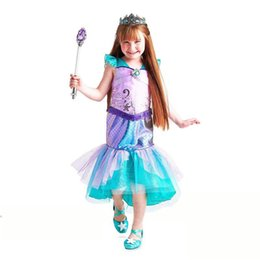 Discount mermaid tail costume for kids - Girls Mermaid Dresses Princess Flare Sleeve Floral Tail Diamond Dress For Birthday Evening Xmas Party Dresses Girl Child