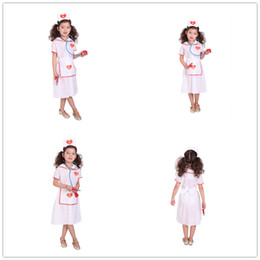 Wholesale nurse cosplay resale online - NEW Girls Hospital Nurse dress Costume Kids Halloween Cosplay costumes dress children role play performance clothing HC33