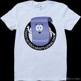 Ingrosso 2018 Streetwear Manica corta Tees South Park Asciugamano non ha idea Cosa sta succedendo su una maglietta bianca realizzata su misura