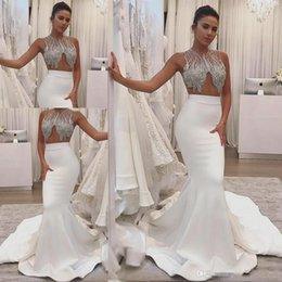 $enCountryForm.capitalKeyWord NZ - Top Beaded Mermaid Wedding Dresses With Bling jeweled Gorgeous satin Zipper Fishtail Summer Country Sexy Mopping Long Section Bridal Gowns