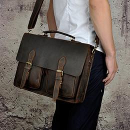 $enCountryForm.capitalKeyWord NZ - Top Designer Briefcase Simple Mens Leather Briefcase Solid Large Business Man Bag 14'' Laptop Bag Messenger Bag for Men