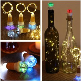 Discount wine cork usb - LED Cork String Lamp Diamond Colorful Atmosphere Night Light USB Rechargeable Luminous Wine Bottle Cork Light