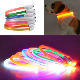 Discount lamp training - USB Charge Dog Training Collar LED Outdoor Luminous Pet Dog Collars Light Size Adjustable LED Flashing Dog Collar