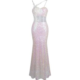 see dress red carpet UK - Angel-fashions Women's Sexy See Through Spaghetti strap Applique Sequin Prom Dress Evening dresses Party Gown White 319