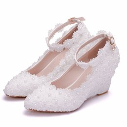 Wedding Shoes Lace Wedge Heel NZ - New Fashionl pointed toe shoes for women heels fashion wedding shoes wedge heel shoes elegant Plus Size lace flowers pearls Bridal heels