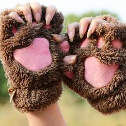 $enCountryForm.capitalKeyWord Australia - BONJEAN 14colors Winter women Bear Cat Claw Mitten Plush Gloves Short Finger Half Gloves Ladies Half Cover Female
