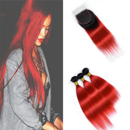 black red ombre hair weave 2018 - Indian Straight ombre Red Hair Bundles with Lace Closure Black Roots Red Ombre Virgin Human Hair Weaves with Top Closure