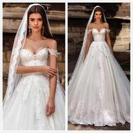 Wholesale Elegant Off The Shoulder Lace A Line Wedding Dresses Crystals Beaded Tulle Applique SweepTrain Country