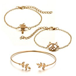 small chain links NZ - 3pcs set Fashion Bohemia Charm Bracelet Coconut Tree Leaves Small Cat Cuff Link Chain Bracelet Bangle For Women Gold Bracelets
